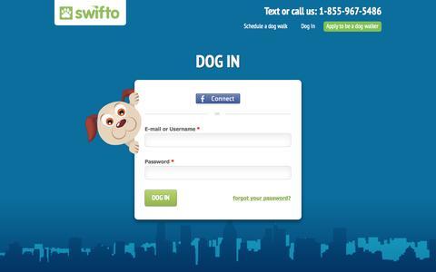Screenshot of Login Page swifto.com - User account | Swifto | NYC Dog Walking with GPS Tracking - captured Sept. 17, 2014