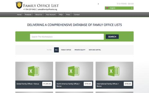 Screenshot of Products Page familyofficelist.org - ALL FAMILY OFFICE LISTS - captured June 5, 2017