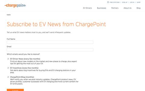 Screenshot of Signup Page chargepoint.com - Subscribe to EV News from ChargePoint - ChargePoint - captured April 21, 2018