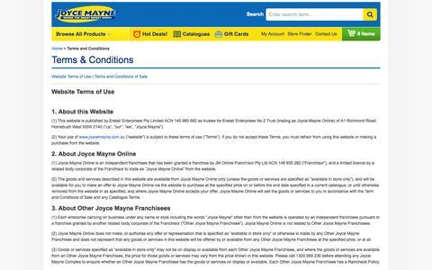 Screenshot of Terms Page joycemayne.com.au - Terms and Conditions | Joyce Mayne Australia - captured Sept. 19, 2014