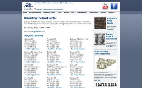 Screenshot of Contact Page Locations Page roofcenter.com - The Roof Center: Maryland, Virginia and Washington, DC Distributor Of Residential Roofing, Commercial Roofing, Siding, Windows, Skylights, Windows, Doors, Trim, Decking, Railing And Accessories. - captured Oct. 26, 2014