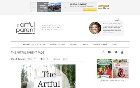 Screenshot of FAQ Page artfulparent.com - The Artful Parent FAQs - captured Feb. 13, 2016