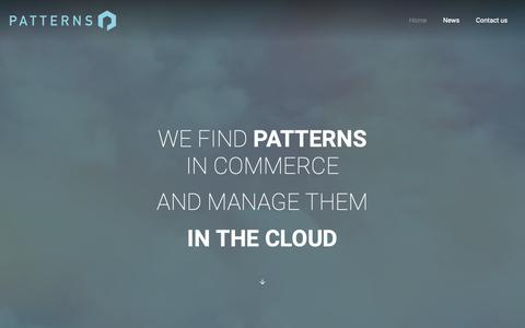Screenshot of Home Page patternsinthecloud.com - Patterns In The Cloud – Predictive Commerce and Communications - captured Nov. 4, 2018
