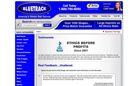 Screenshot of Testimonials Page bluetrack.com - Reviews & Testimonials - captured Oct. 5, 2014