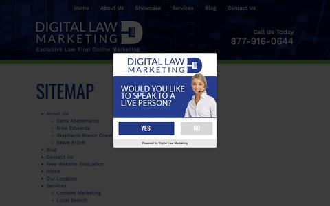 Screenshot of Site Map Page digitallawmarketing.com - Sitemap | Digital Law Marketing - captured Jan. 18, 2019