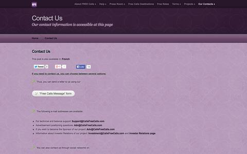 Screenshot of Contact Page callsfreecalls.com - Contact Us | CFC - Free International Calls and SMS - captured Sept. 13, 2014