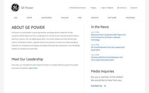 Screenshot of About Page ge.com - About General Electric Power   GE - captured July 6, 2018