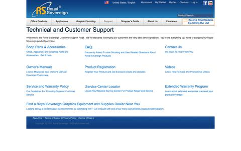 Screenshot of Support Page royalsovereign.com - Royal Sovereign Customer Support   Technical Support - captured Nov. 8, 2018