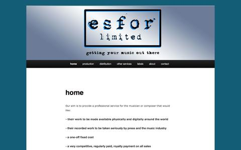 Screenshot of Home Page esforlimited.com - Esfor Limited | getting your music out there - captured Sept. 26, 2014