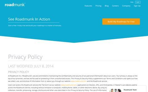 Screenshot of Privacy Page roadmunk.com - Roadmunk's Privacy Policy | Create Beautiful Roadmaps Quickly - captured Nov. 11, 2015