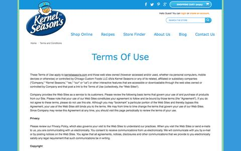 Screenshot of Terms Page kernelseasons.com - Terms and Conditions - Kernel Season's - captured Sept. 22, 2014