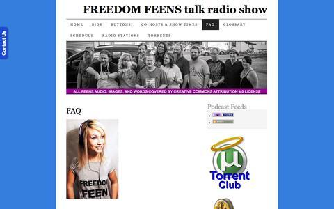 Screenshot of FAQ Page freedomfeens.com - FAQ | FREEDOM FEENS talk radio show - captured Nov. 4, 2014