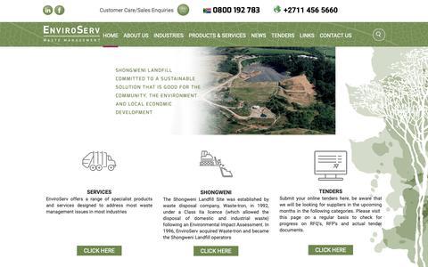 Screenshot of Home Page enviroserv.co.za - EnviroServ | Waste Management - captured Sept. 28, 2018