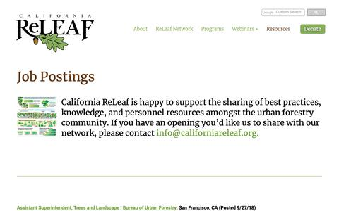 Screenshot of Jobs Page californiareleaf.org - Job Postings - Visit our page for current urban forestry jobs available. - captured Nov. 4, 2018