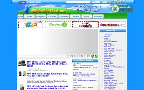 Screenshot of Home Page whatsyourdeal.com - Coupon Codes, Deals and Grocery Coupons ~ WhatsYourDeal.com - captured Sept. 23, 2014