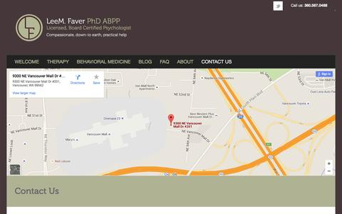 Screenshot of Contact Page Maps & Directions Page leemfaver.com - Contact Us - Lee M FaverLee M Faver - captured June 22, 2016