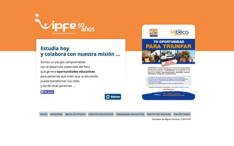 Screenshot of Home Page ipfe.org.pe - IPFE | becas de estudio, créditos educativos, programas educativos y proyectos sociales - captured Oct. 6, 2014