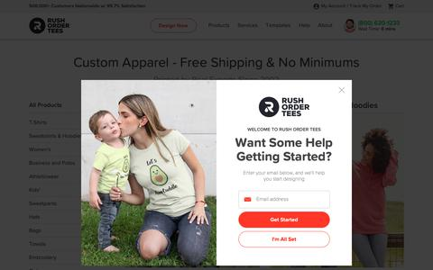 Screenshot of Products Page rushordertees.com - Custom Apparel - Free Shipping & No Minimums - captured June 10, 2019