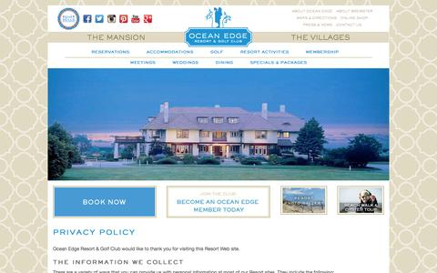 Screenshot of Privacy Page oceanedge.com - Cape Cod Hotels-Privacy Policy | Ocean Edge Resort & Golf Club - captured Feb. 16, 2016