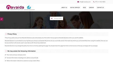Screenshot of Privacy Page navaida.com - Privacy Policy, Navaida Solutions, Dubai - captured Nov. 24, 2016