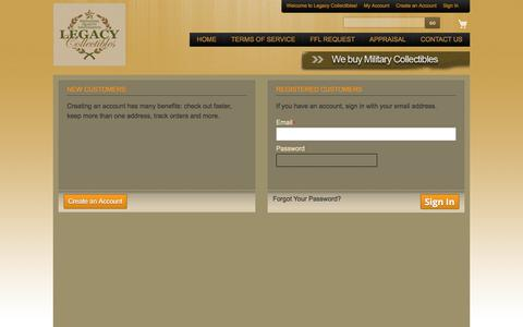 Screenshot of Login Page legacy-collectibles.com - Customer Login | Legacy Collectibles - captured July 17, 2018