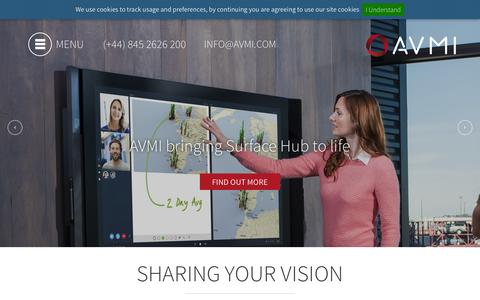 Screenshot of Home Page avmi.com - AVMI | Global Audio Visual Integration | Managed Services - captured Dec. 3, 2015
