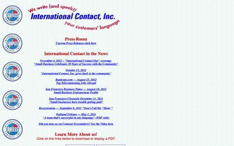 Screenshot of Press Page intlcontact.com - We Make News! - captured Oct. 6, 2014