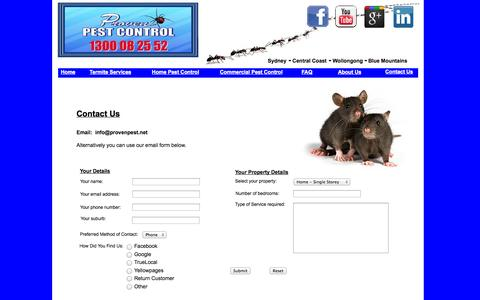 Screenshot of Contact Page provenpest.net - Pest Control Sydney - captured Oct. 3, 2014