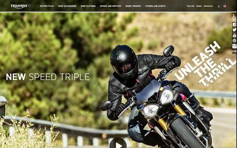 Screenshot of Home Page triumphmotorcycles.com - Triumph Motorcycles USA | Triumph Motorcycles - captured Jan. 26, 2016