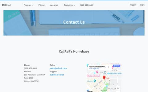 Screenshot of Contact Page callrail.com - Call Tracking Questions Answered | CallRail Customer Service & Sales - captured Aug. 21, 2019