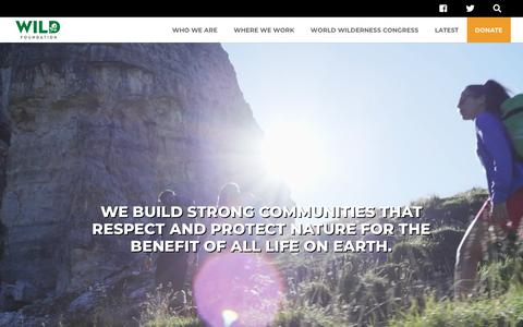 Screenshot of Home Page wild.org - WILD Foundation | Protecting through connecting: wilderness, wildlife & people - captured Oct. 18, 2018