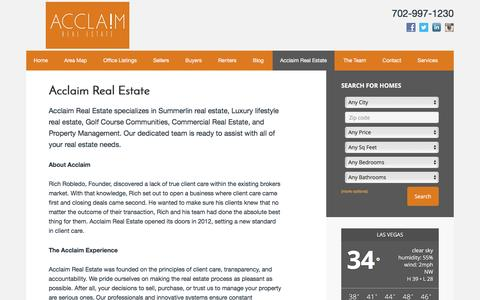 Screenshot of About Page acclaimre.com - Acclaim Real Estate - Rich Robledo - captured Feb. 5, 2016
