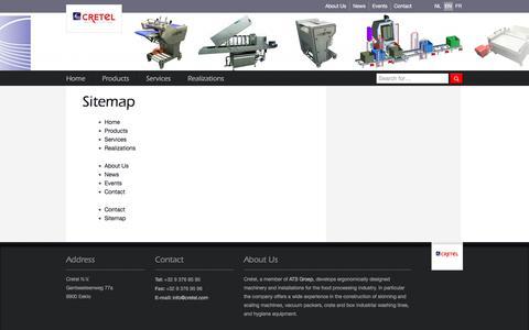 Screenshot of Site Map Page cretel.be - Sitemap    Cretel nv - captured Oct. 6, 2017