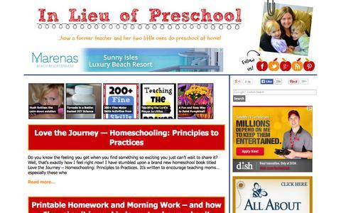Screenshot of Home Page inlieuofpreschool.com - In Lieu of Preschool - ...what a former teacher and her two little ones do in lieu of preschool! - captured Sept. 22, 2014