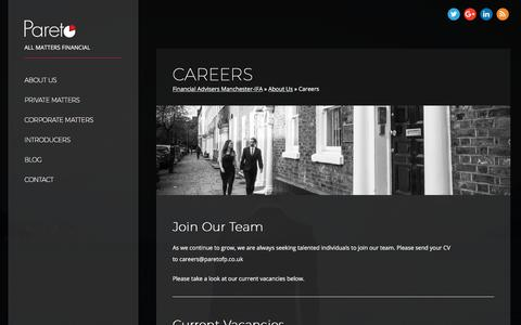 Screenshot of Jobs Page paretofp.co.uk - Join our Manchester based team of financial advisers- IFA Manchester - captured March 25, 2018