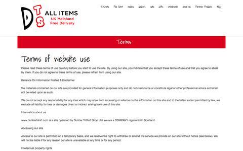 Screenshot of Terms Page dunbartshirt.com - Terms - Dunbar T-Shirt Shop - captured Nov. 3, 2014