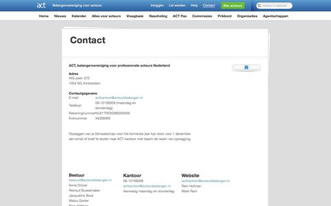 Screenshot of Contact Page acteursbelangen.nl - ACT | Contact - captured Aug. 19, 2019