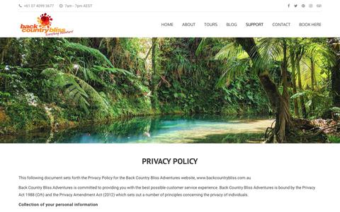 Screenshot of Privacy Page backcountrybliss.com.au - Privacy Policy - captured Nov. 13, 2018