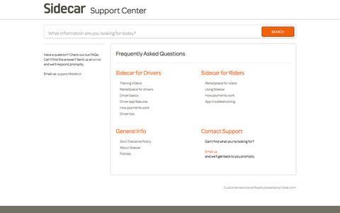 Screenshot of Support Page side.cr - Sidecar          Portal - captured Sept. 13, 2014