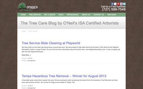 Screenshot of Blog oneilstreeservice.com - The Tree Care Blog by O'Neils Tree Service ISA Certified Arborists - captured Nov. 7, 2018