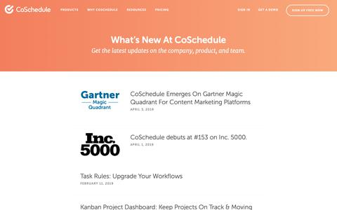 Screenshot of Press Page coschedule.com - What's New At CoSchedule - captured April 7, 2019