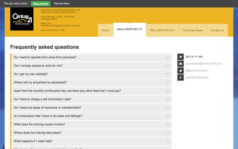 Screenshot of FAQ Page estate-agency-franchise.co.uk - Frequently asked questions   CENTURY 21 UK   Century 21 UK Franchise Opportunities - captured Oct. 2, 2014