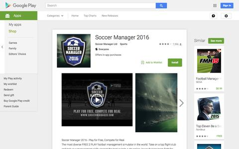 Screenshot of Android App Page google.com - Soccer Manager 2016 - Android Apps on Google Play - captured Nov. 24, 2015