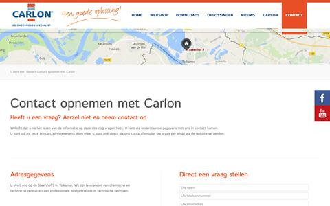 Screenshot of Contact Page carlon.nl - Contact opnemen met Carlon - Carlon - captured Sept. 27, 2018