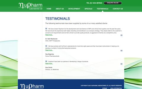 Screenshot of Testimonials Page nupharmlabs.com - Testimonials From Our Clients - NU Pharm - NuPharm Laboratories Ltd. - captured Oct. 7, 2014
