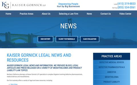Screenshot of Press Page kaisergornick.com - San Francisco Product Liability Attorney | News - captured Oct. 14, 2018