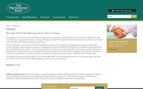 Screenshot of Jobs Page theprovidentbank.com - The Provident Bank - captured Sept. 19, 2014