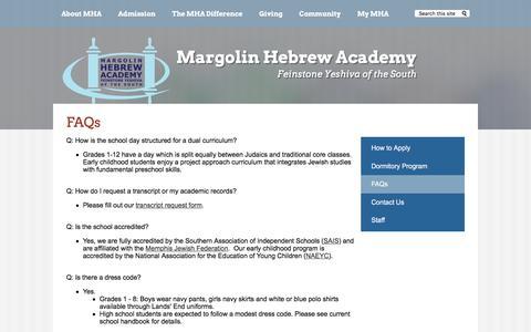 Screenshot of FAQ Page mhafyos.org - FAQs – Admission – Margolin Hebrew Academy - captured Oct. 17, 2017