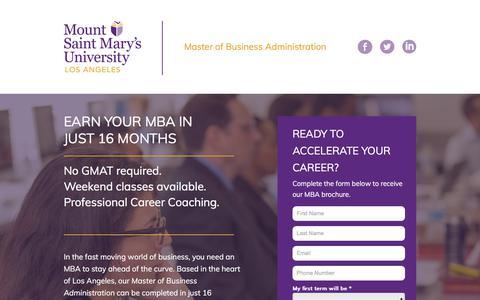 Screenshot of Landing Page msmu.edu - Master of Business Administration – Los Angeles MBA | MSMU - captured April 21, 2018