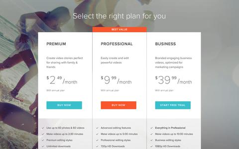 Screenshot of Pricing Page magisto.com - Video Content By Magisto | Select plan for your video needs - captured Sept. 18, 2017